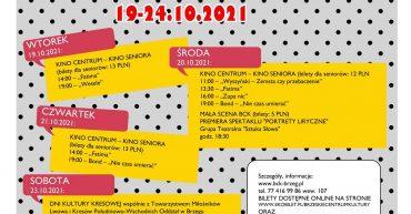 Plakat przedstawiający program Tygodnia Sceniora w Brzeskim Centrum Kultury